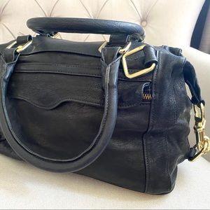 REBECCA MINKOFF Black/Gold Satchel Handbag EUC